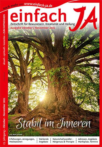 """""""Stabil im Inneren"""" - Ausgabe Oktober/November 2021 der Zeitschrift """"einfach JA"""" - Zeitschrift für Bewusstsein, Kreativität und Heilung"""